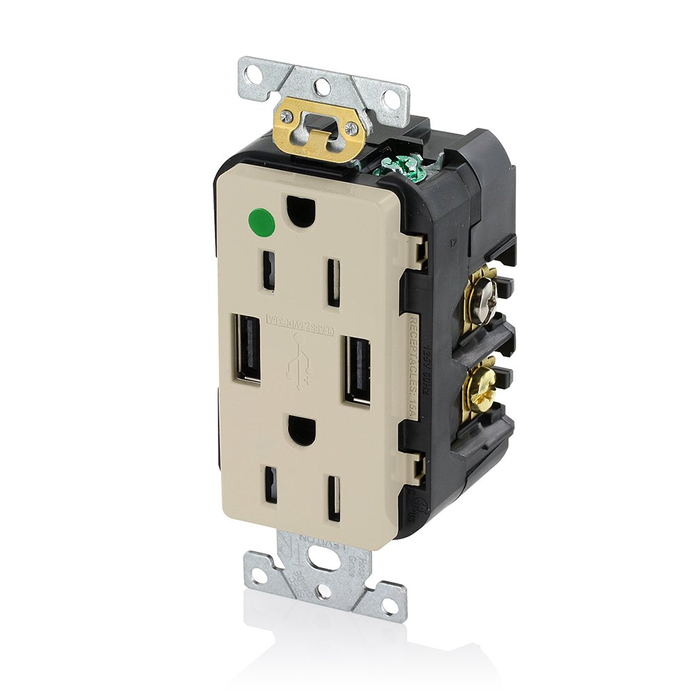 Leviton T5632 Hgw 15 Amp Hospital Grade Usb Charger Tamper Resistant Duplex Receptacle Wiring White