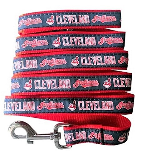 Size Small Cleveland Indians Nylon Collar and Matching Leash for Pets MLB Official by Pets First