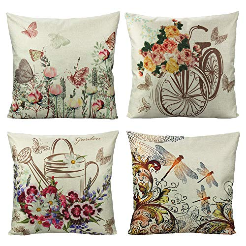 VAKADO Outdoor Butterfly Flowers Throw Pillow Covers Garden Spring Floral Dragonfly Pot Bike Insects Decorative Cushion Cases Home Decor for Porch Patio Couch Sofa 18x18 Set of 4 from VAKADO
