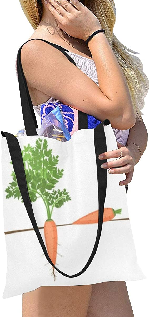 Canvas Tote Craft Bag Set Of Colorful Carrot Big Canvas Bag Cloth Bags For Women Print Large Size Simple Shoulder Crossbody Strap Work School Shopper
