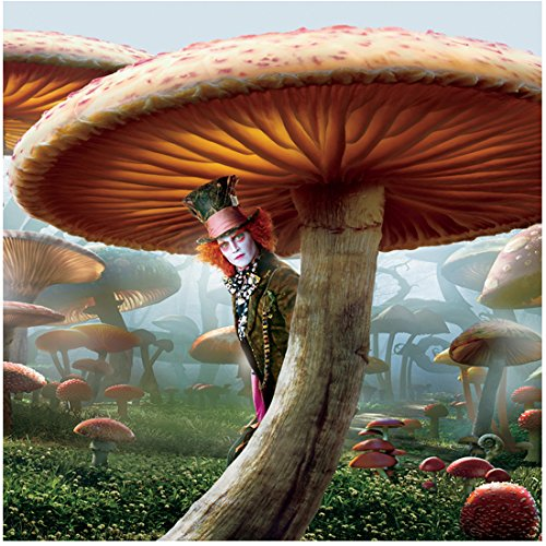 (Alice Through the Looking Glass 8x10 Photo Johnny Depp as Mad Hatter Peeking Around Mushroom Stem)
