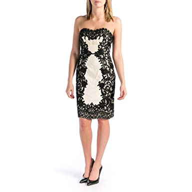 a4fec42427b Image Unavailable. Image not available for. Color  Sue Wong Womens Lace Strapless  Cocktail Dress ...