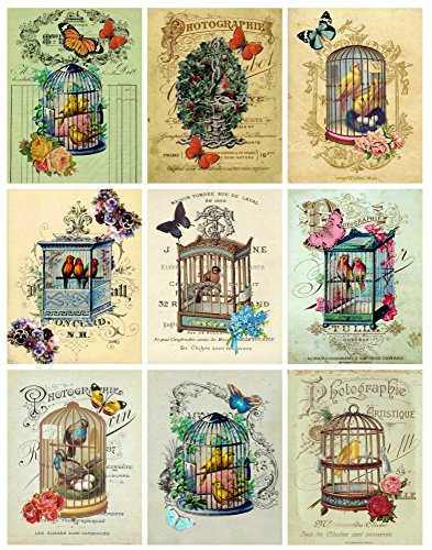 (Vintage Victorian Birdcages Collage Sheet Ephemera Art Images for Decoupage, Scrapbooking, Jewelry Making)