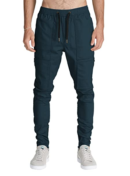 ITALY MORN Hombre Chino Cargo Casual Pantalón Slim Fit Jogging Algodón S  Azul Oscuro
