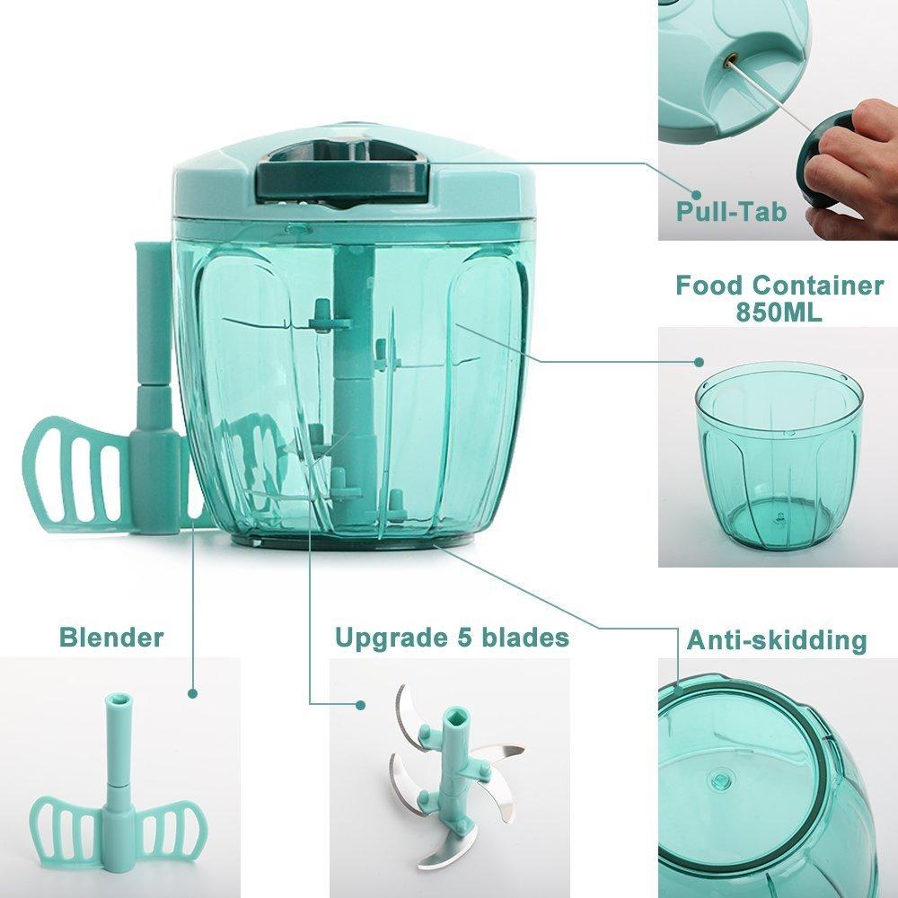 Amazon.com: Manual Food Chopper, 5 Blades 6 Cups Powerful Processor ...