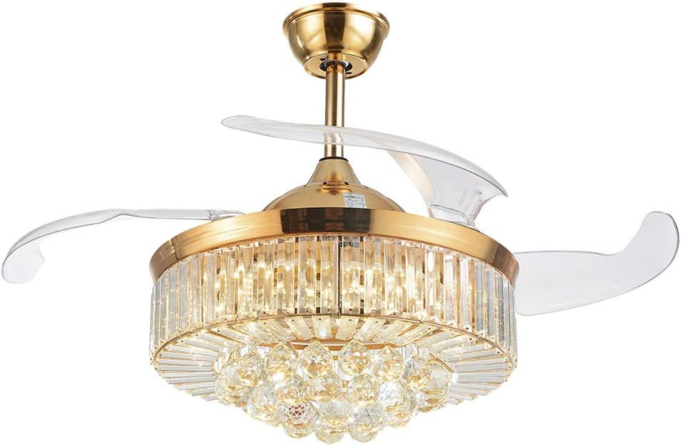 42 Inch Retractable Crystal Ceiling Fans Light with Remote Control 3 Color Change 4-Blade Invisible Ceiling Fan Chandelier Art Decoration Rose Gold