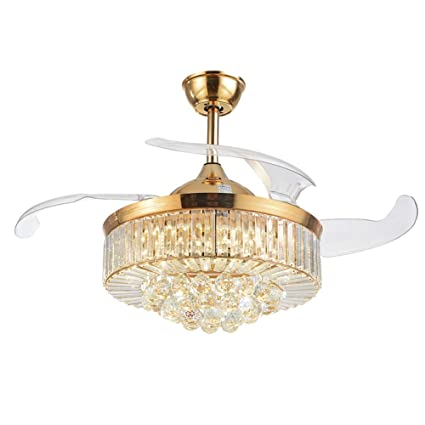42 Inch Retractable Crystal Ceiling Fans Light with Remote Control 3 Color Change 4-Blade Invisible Ceiling Fan Chandelier Art Decoration (Rose Gold)