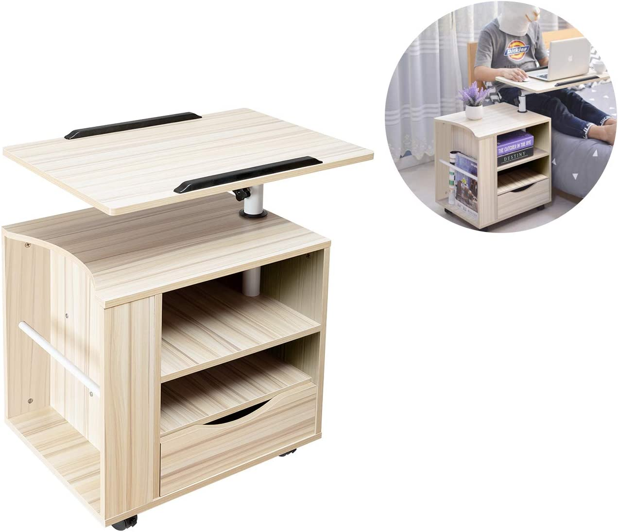 SIDUCAL Multifunctional Bedside Table Height Adjustable & Swiel Wooden Nightstand with Drawers, Rolling Laptop Desk Computer Table, Beige (Right Side)