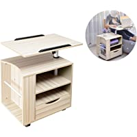 SIDUCAL Multifunctional Bedside Table Height Adjustable & Swiel Wooden Nightstand with Drawers, Rolling Laptop Desk…