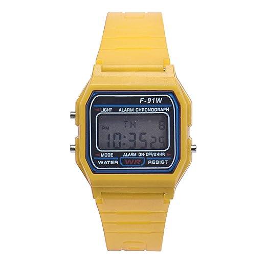 Reloj Digital para niño Moda Hombre niña LED Digital Redondo de Goma de Cuarzo Deporte Moda Impermeable Reloj de Pulsera (Amarillo): Amazon.es: Relojes