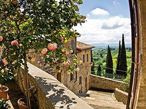 Artland Qualitätsbilder I Bild auf Leinwand Leinwandbilder Wandbilder 80 x 60 cm Landschaften Garten Foto Grün B6UY Rosen Balkon San Gimignano Toskana