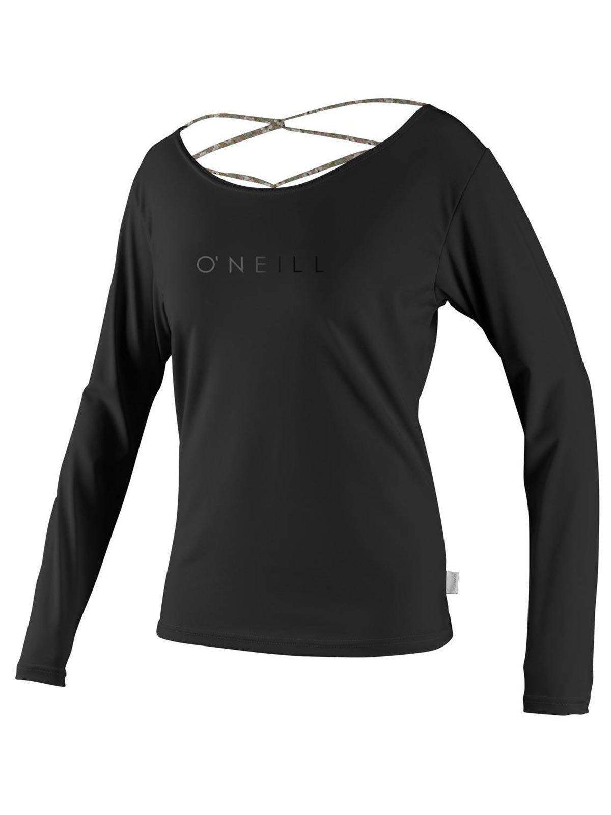 O'Neill Womens Strap Back L/S Rashguard, Black/Floral Black, Small by O'Neill