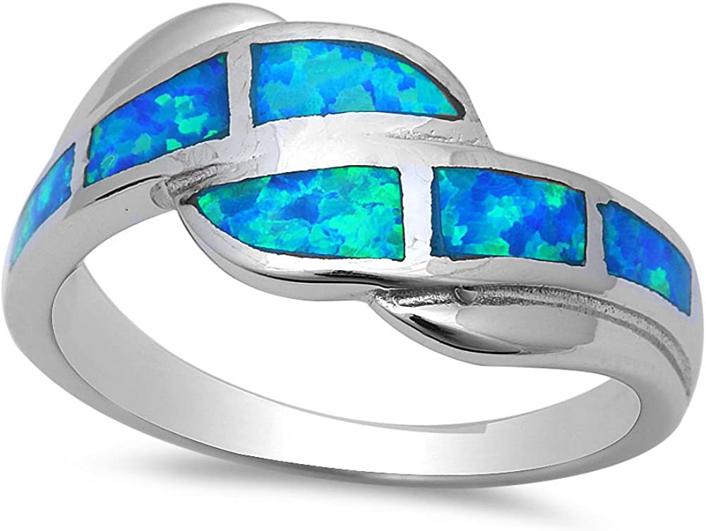 Sterling Silver Claddagh Ring With Inlaid Blue//Green Opal