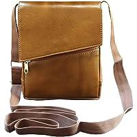 ABYS Genuine Leather Tan Unisex Neck Pouch||Messenger Bag||Passport Holder||Sling Bag with Adjustable Strap