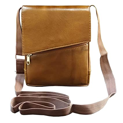 ABYS Genuine Leather Tan Unisex Neck Pouch||Messenger Bag||Passport Holder||Sling Bag with Adjustable Strap