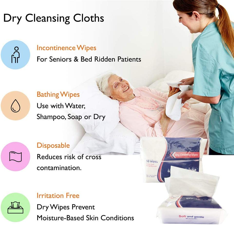 JEBBLAS Dry Cleaning Wipes Can be Used Dry Or Wet 26cm x 32cm White 100 Soft Wipes