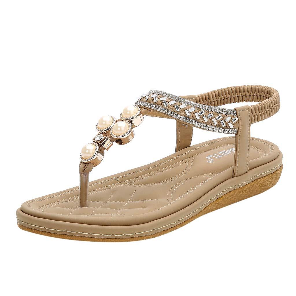 Kauneus Womens Flat Sandals Summer Rhinestone Bohemian Flip Flop Shoes Beige by Kauneus Fashion Shoes