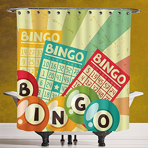Polyester Shower Curtain 3.0 by SCOCICI [ Vintage Decor,Bingo Game with Ball and Cards Pop Art Stylized Lottery Hobby Celebration Theme,Multi ] Bathroom Accessories with Hooks by SCOCICI