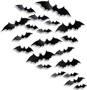 Antner Halloween Party Supplies PVC 3D Bats Halloween DIY Decorative Scary Bats Wall Decal Wall Sticker, Halloween Eve Decor Window Decal Party Decoration, 36pcs, Black
