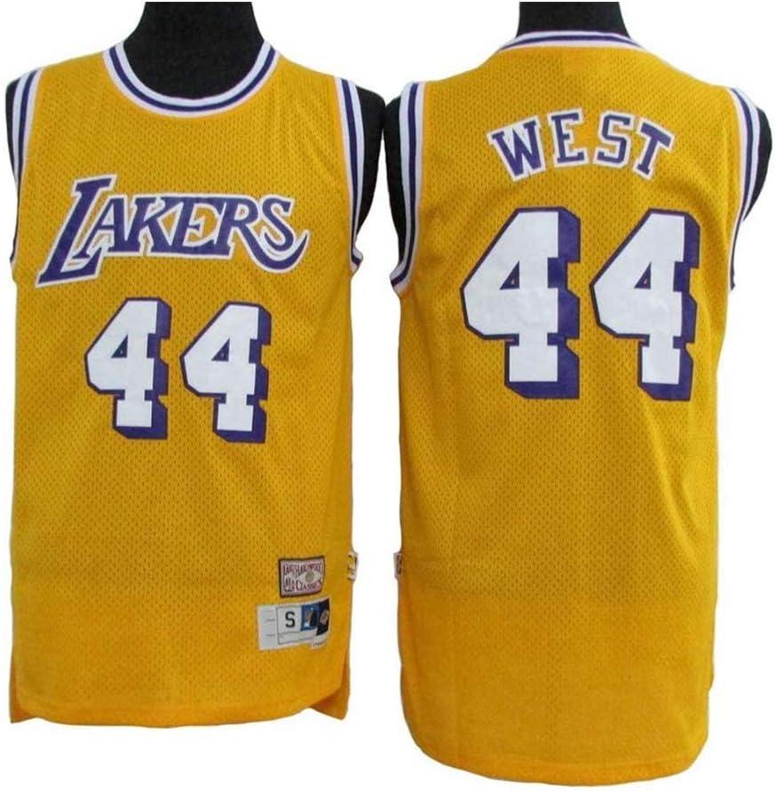 170CM//50~65Kg XH-CHEN Hombres Camiseta de la NBA Los Angeles Lakers 44# West Retro Bordados Malla de Baloncesto Ropa de Entrenamiento Unisex Camiseta sin Mangas del Chaleco,A,S