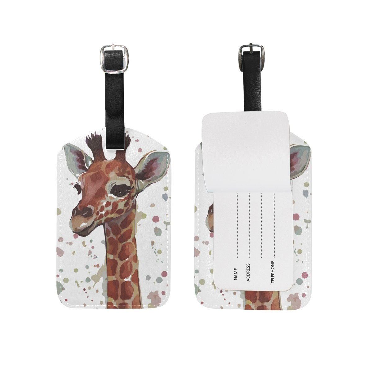 Art Giraffe Leather Travel Tour Luggage Handbag Personalized Tags Card Labels (2pcs)