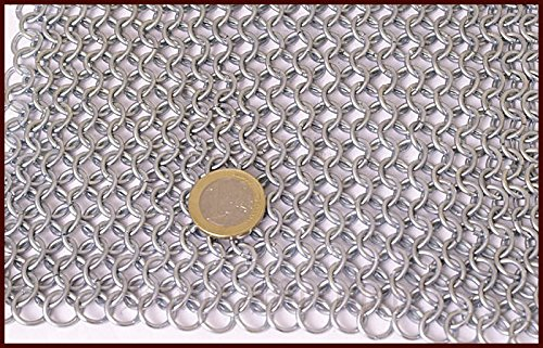 LARP ID 8mm Vikings Chainmail Hood Galvanised Square Cut-Out for Medieval