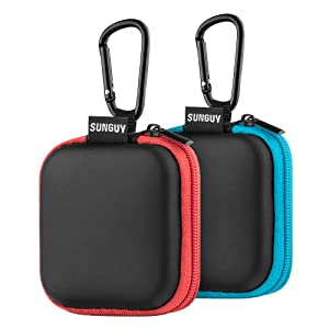 Earbuds Carrying Case,SUNGUY [2-Pack] Portable Small Shape Hard EVA Carry Case Storage Bag for Earphone,Earbuds,Bluetooth Headset,Wired Headset Mini Case and More (Blue+Red)