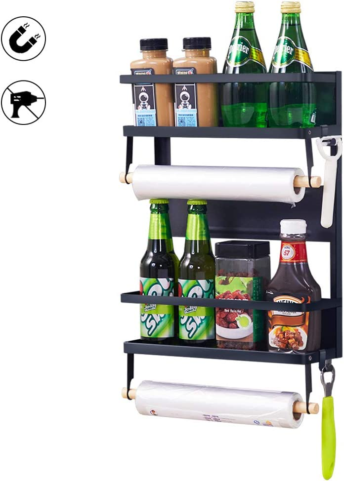 XIAPIA Magnetic Fridge Organizer Spice Rack with Paper Towel Holder and 5 Extra Hooks | 4 Tier Magnet Refrigerator Shelf in Kitchen Holds up to 45 LBS | 16x12x4 Inch Black (Black, L)