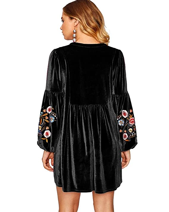 b071f08ddff1 Aox Women's Vintage Floral Embroidered A line Velvet Short Party Dress Plus  Size at Amazon Women's Clothing store: