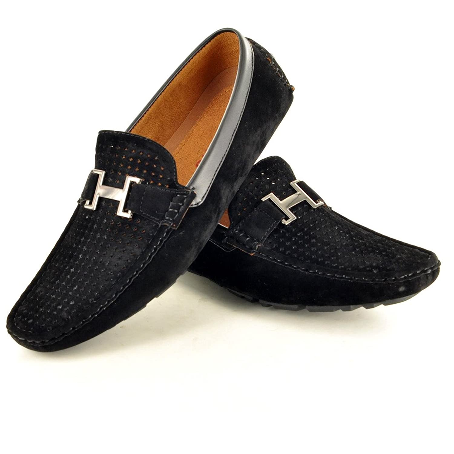 Mens Perforated Faux Suede Casual Loafers Moccasins Shoes: Amazon.co.uk:  Shoes & Bags