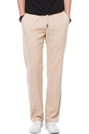 ad4702de5e Mens Drawstring Casual Linen Pants Men, Regular Fit Flat Front Dress ...