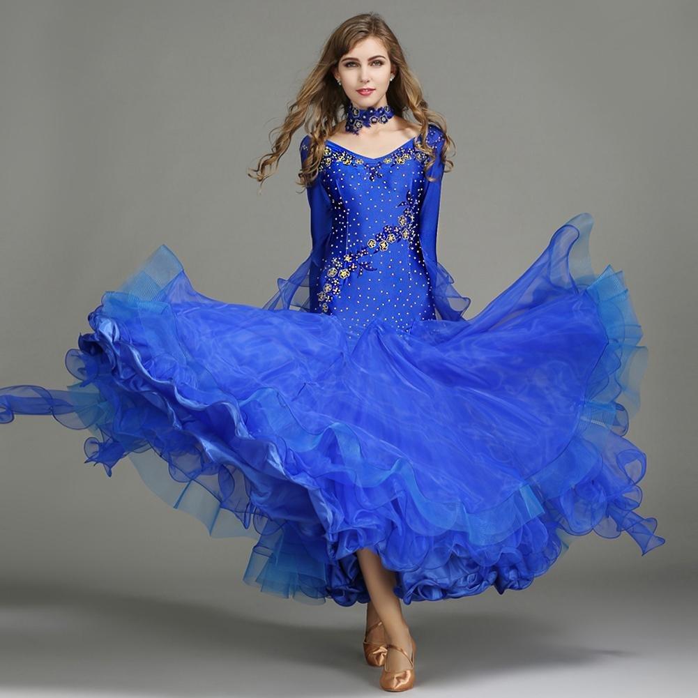 Treasure bleu XL Femmes EntraîneHommest Salle de Bal Manches Longues Danse Robes Spandex Tulle hauts à Sequins Cristaux Strass Paillettes 1 Pièce