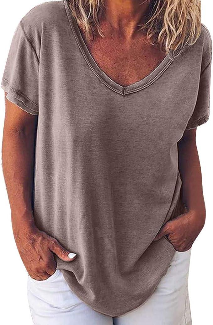 Camisetas Mujer Manga Corta, Talla Grande Blusas para ...
