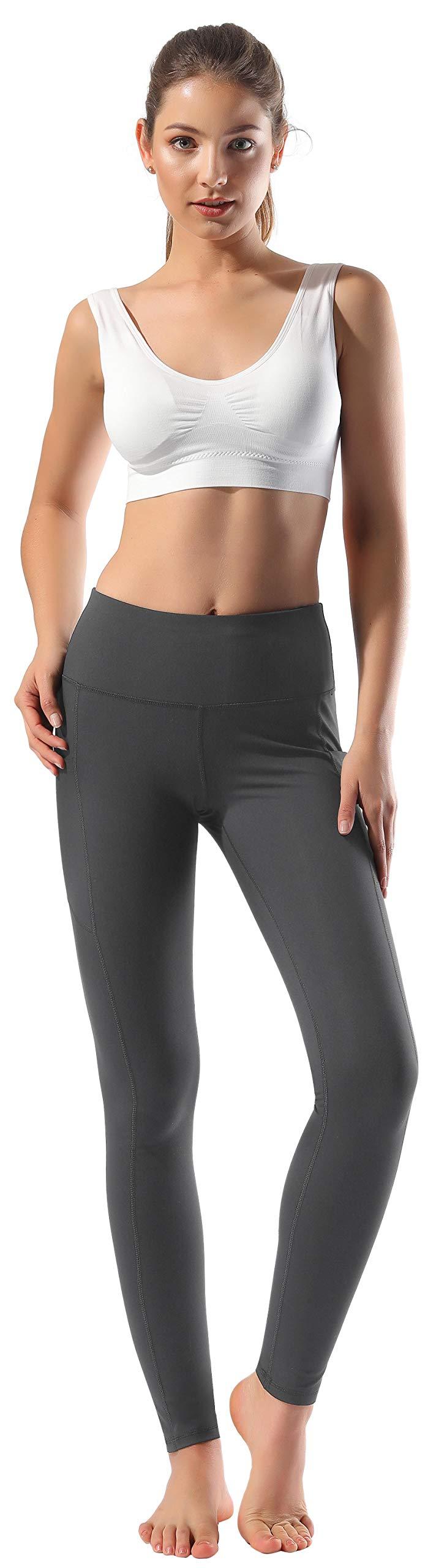 Women's High Waist Yoga Pants Side & Inner Pockets Tummy Control Workout Running 4 Way Stretch Sports Leggings by HOFI (Image #2)
