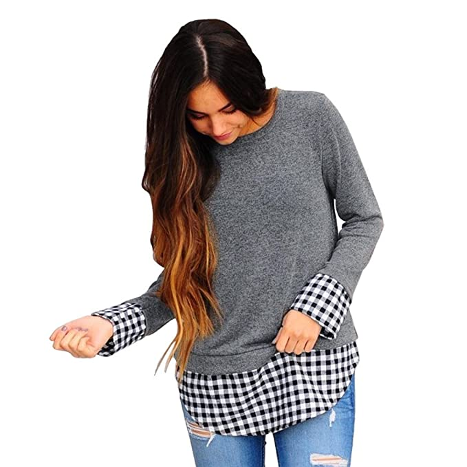 Yannerr mujer primavera Bajo asimétrico Cuadros empalme cuello redondo casual manga larga básica inferior camiseta tops