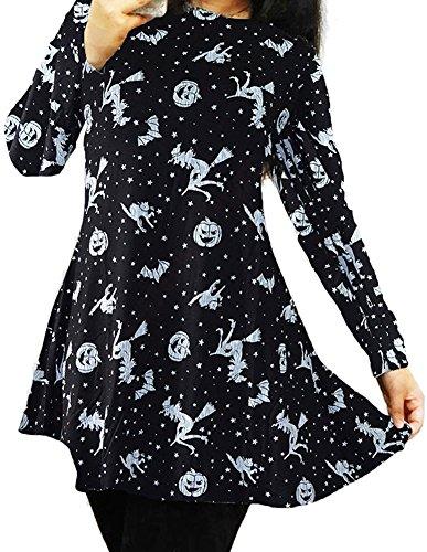 Halloween Vampire Women Horror Club Wear Bodycon Longsleeve Swing Mid Dress Costumes Black (Halloween Vampire Female)
