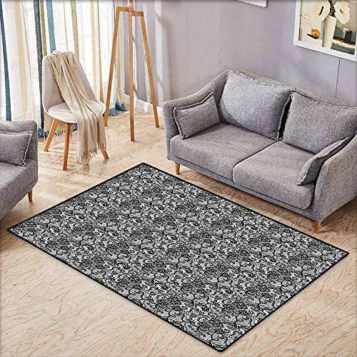 Collection Area Rug,Black and White,Lace Like Floral Bridal Mesh Victorian Needlecraft Digital Artwork Print,with No-Slip Backing,3'11