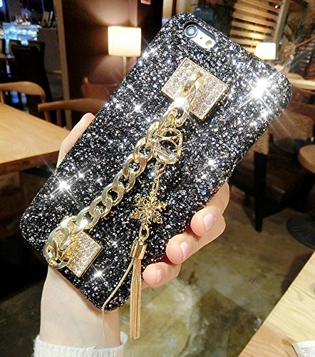 Price comparison product image iPhone 8 Plus Case,iPhone 7 Plus Diamond Case,ikasus Snowflakes Tassels Pendant 3D Handmade Luxury Sparkle Bling Diamonds Rhinestones Full Crystals Bling Diamond Case for iPhone 8 Plus / 7 Plus