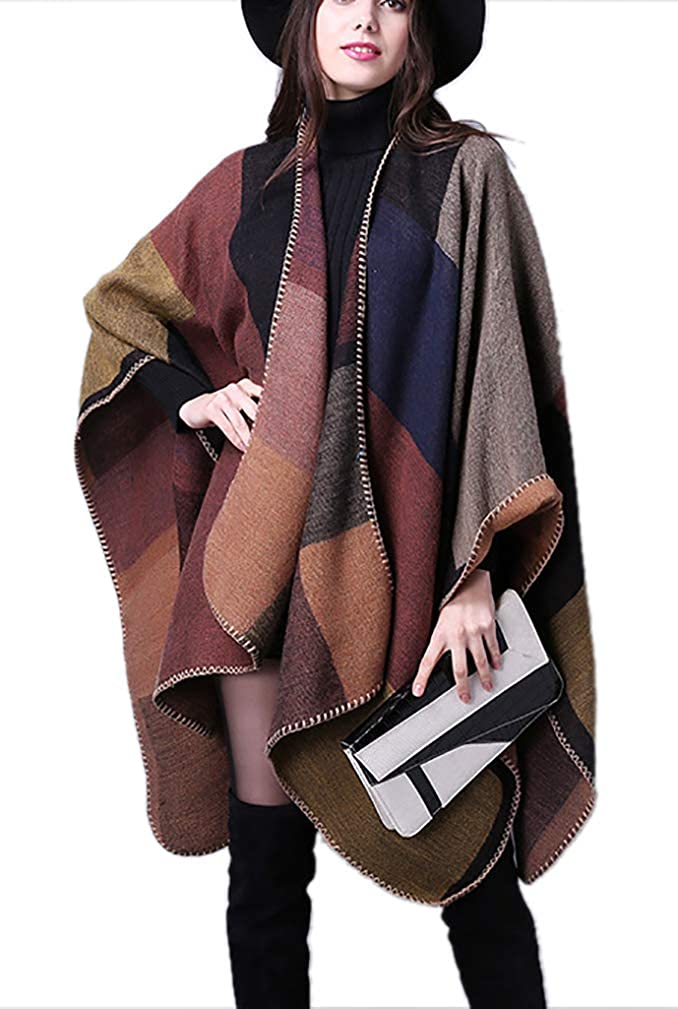 WO-STAR Women Open Front Oversized Blanket Poncho Cape Shawl Cardigan Coat