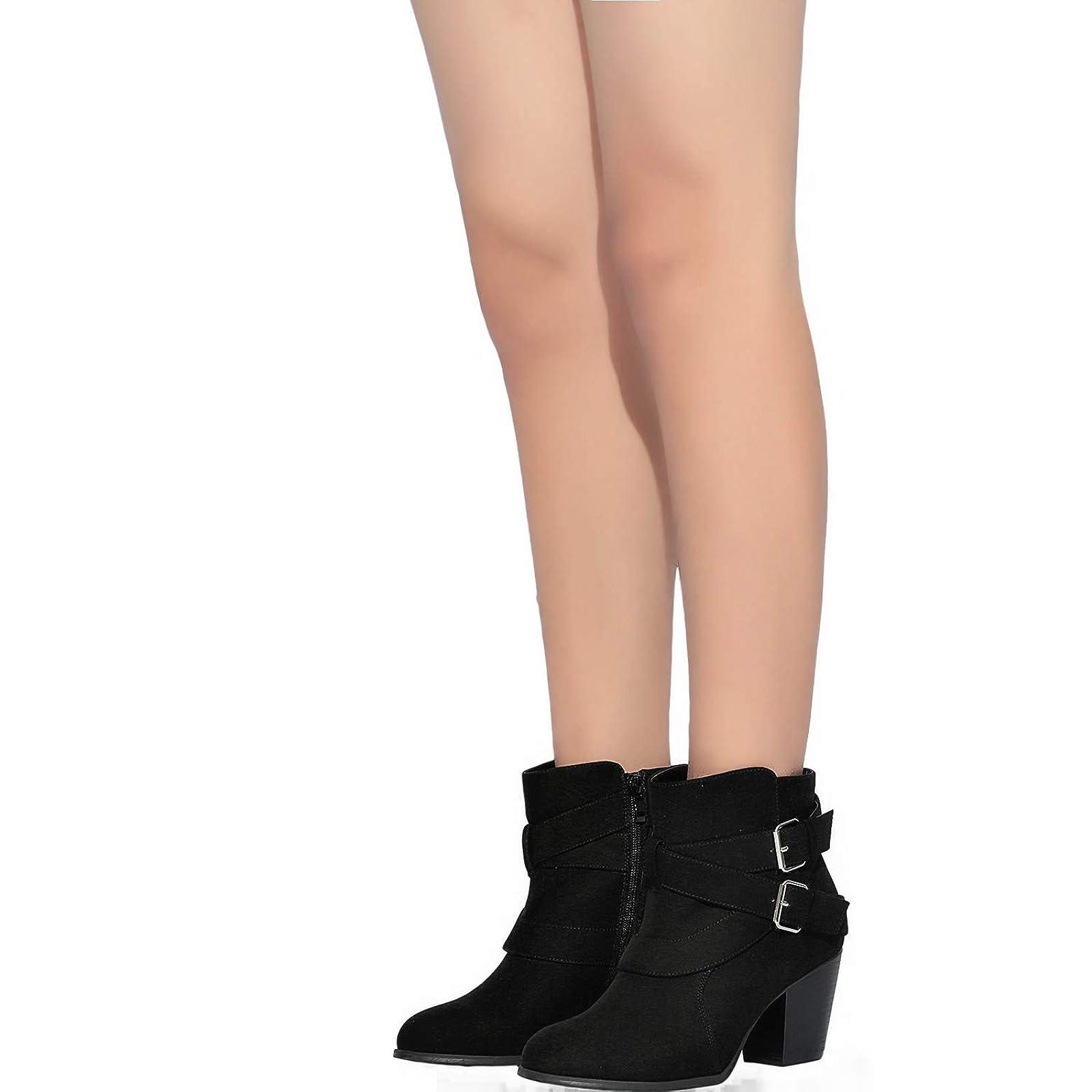 Luoika Women's Wide Width Ankle Boots - Black 10 XW US - 6
