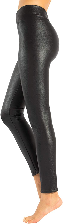 CALZITALY Leggings Efecto Piel Térmicos, Leggings Brillates, Mallas con Brillantina, Glitter | Negro | XS, S, M, L, XL | Made in Italy