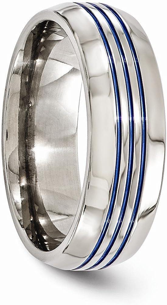 Bridal Wedding Bands Decorative Bands Edward Mirell Titanium Triple Groove Blue Anodized 8mm Band Size 9