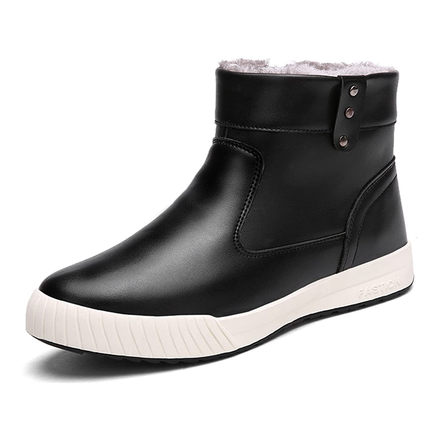 Mens Waterproof Anti-Slip Casual Snow Boots With Fully Fur Lined High Top (7 D(M) Men=9.63''Foot Black)