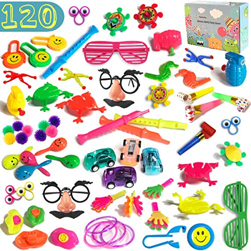 120 PCS Party Favors Toy Assortment for Kids Bulk Toys for Birthday Favors, Pinata Fillers, Carnival Prizes, Classroom Rewards, Treasure Chest Toys, Goodie Bag Fillers, Easter Eggs Stuffers, Gift Boxed