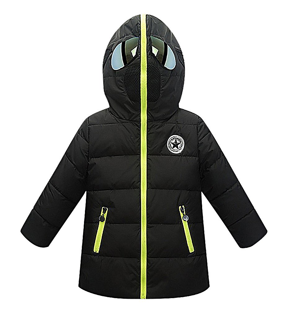 Sweety Kids Quilted Zipped Hooded Wind Protection Cotton Jacket With Glasses, Black 8