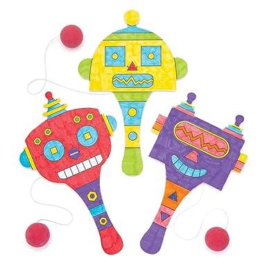 Baker Ross- Paletas con forma de robot para colorear (Pack de 5 ...
