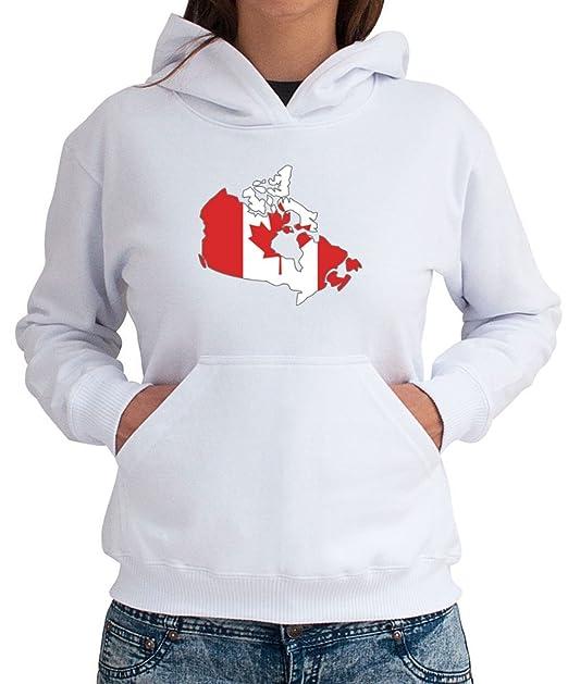 Idakoos EU Felpa con Cappuccio da Donna Canada Country Map