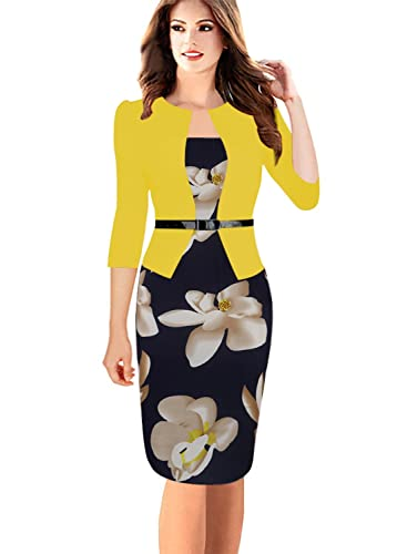 Oxiuly Women's Formal Patchwork Stretch Floral Print Business Work Bodycon Pencil Dress OX166