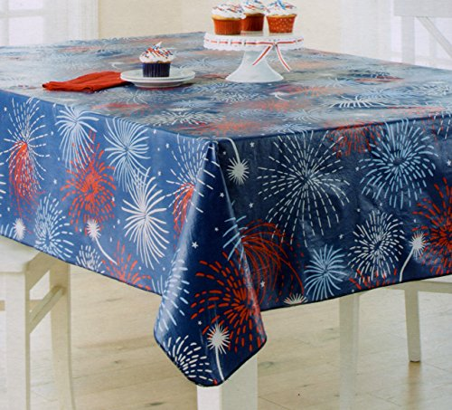 Fireworks Flannel Back Vinyl Tablecloth 4th Of July