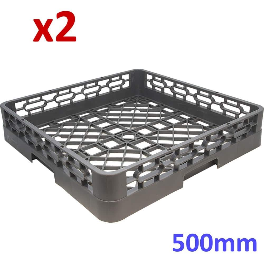 2X Commercial Kitchen Dishwasher Rack Open Basket Tray Cutlery Cup Glass 500mm eZone